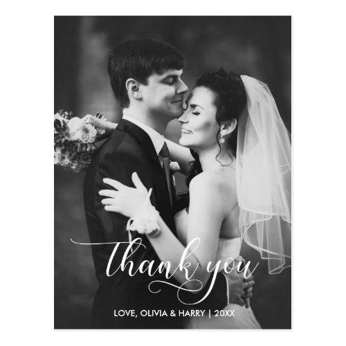 Modern Typography Wedding Photo Thank You Postcard