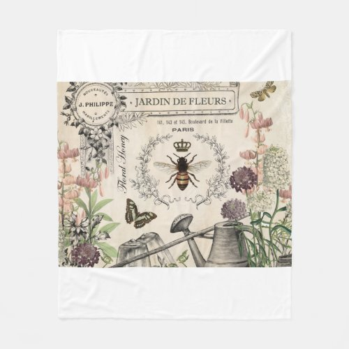 Modern Vintage French Bee garden Fleece Blanket