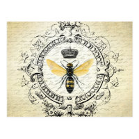 modern vintage french queen bee postcard