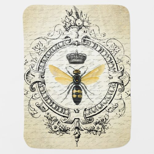 modern vintage french queen bee stroller blanket