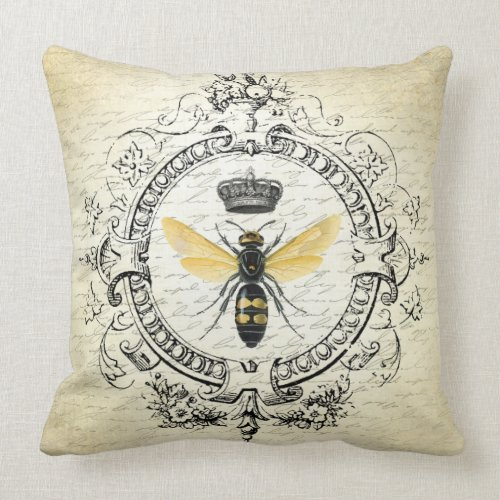 Modern vintage french queen bee throw pillow