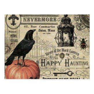 modern vintage halloween pumpkin and crow