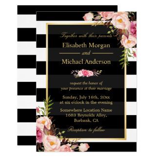 Flowers Chalkboard Vintage Wedding Invitation