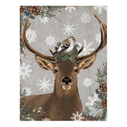 modern vintage rustic woodland winter deer postcard