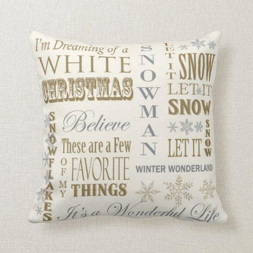 Modern Vintage White Christmas pillow