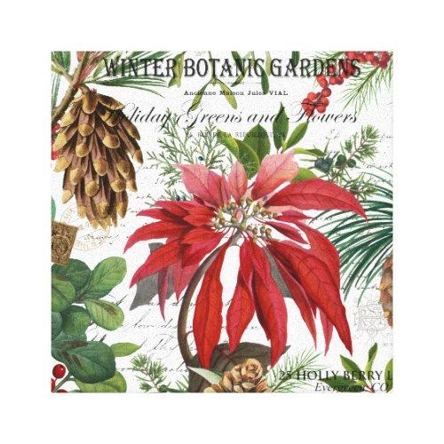 Modern vintage winter garden floral canvas print