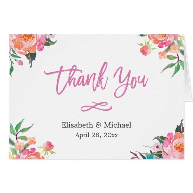 Modern Watercolor Botanical Floral Thank You