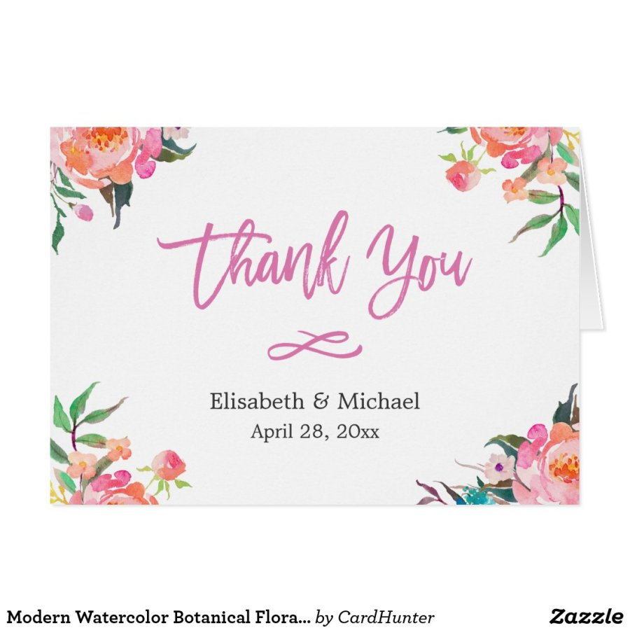 Modern Watercolor Botanical Floral Thank You