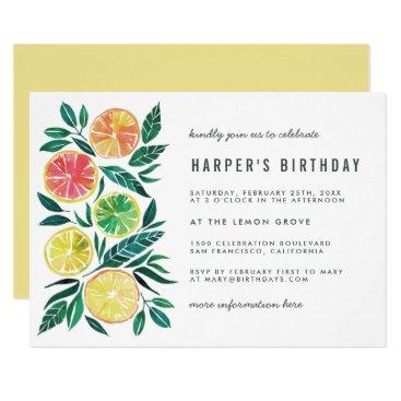 Modern Watercolor Citrus Birthday Party Invitation