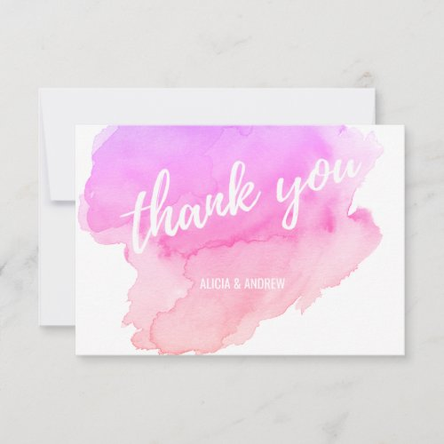 Modern Watercolor Pink, Peach THANK YOU