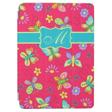 Modern Whimsy Butterflies on Red Monogram Personal iPad Air Cover