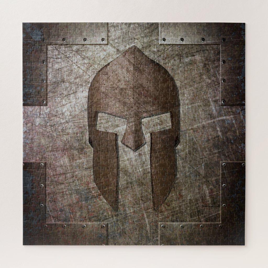 Molon Labe - Spartan Helmet on Riveted Metal Sheet Jigsaw Puzzle