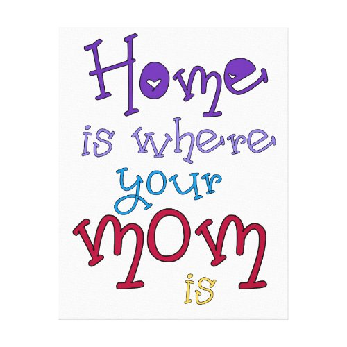 Mom Quote Canvas Art Quote Home is Where your Mom