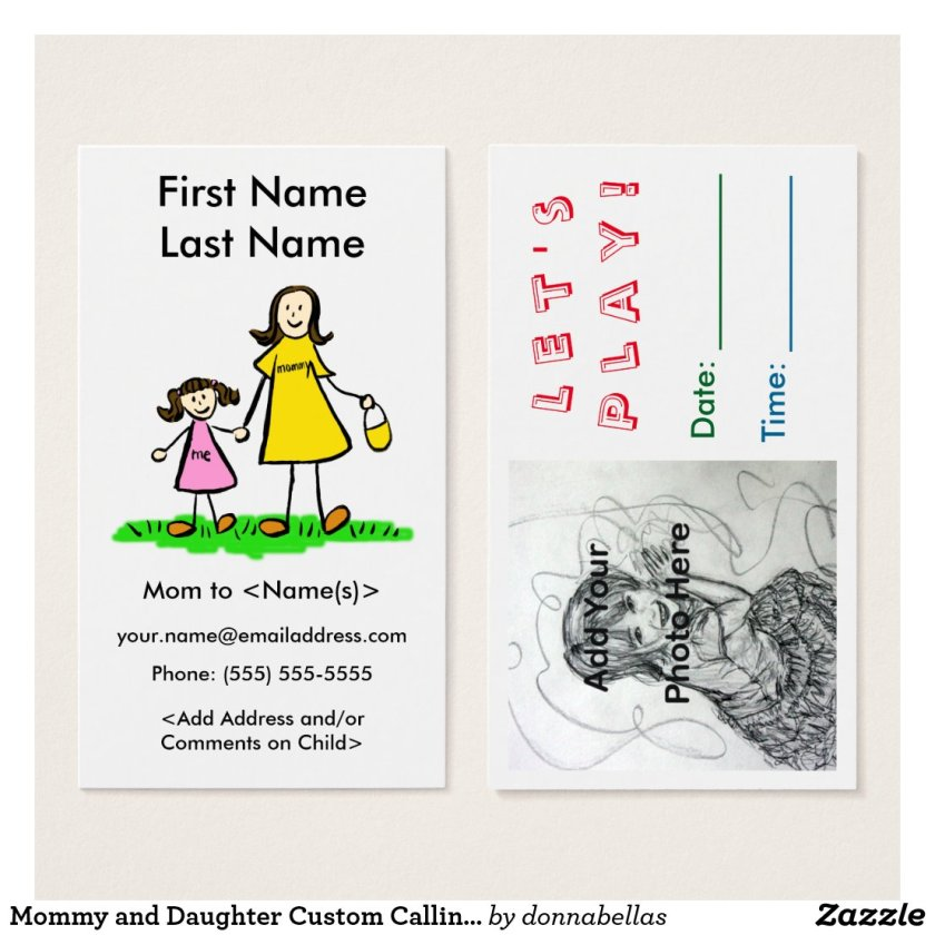 Mommy and Daughter Custom Calling Playdate Cards