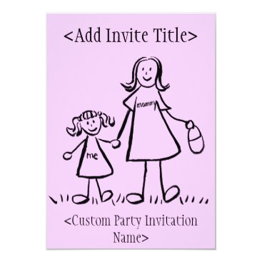 """""""Mommy and Me"""" Little Girl Invitation or Invites"""