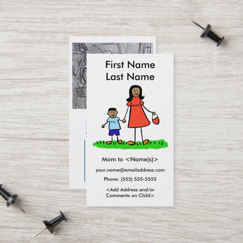 Mommy and Son Custom Photo Calling Playdate Cards