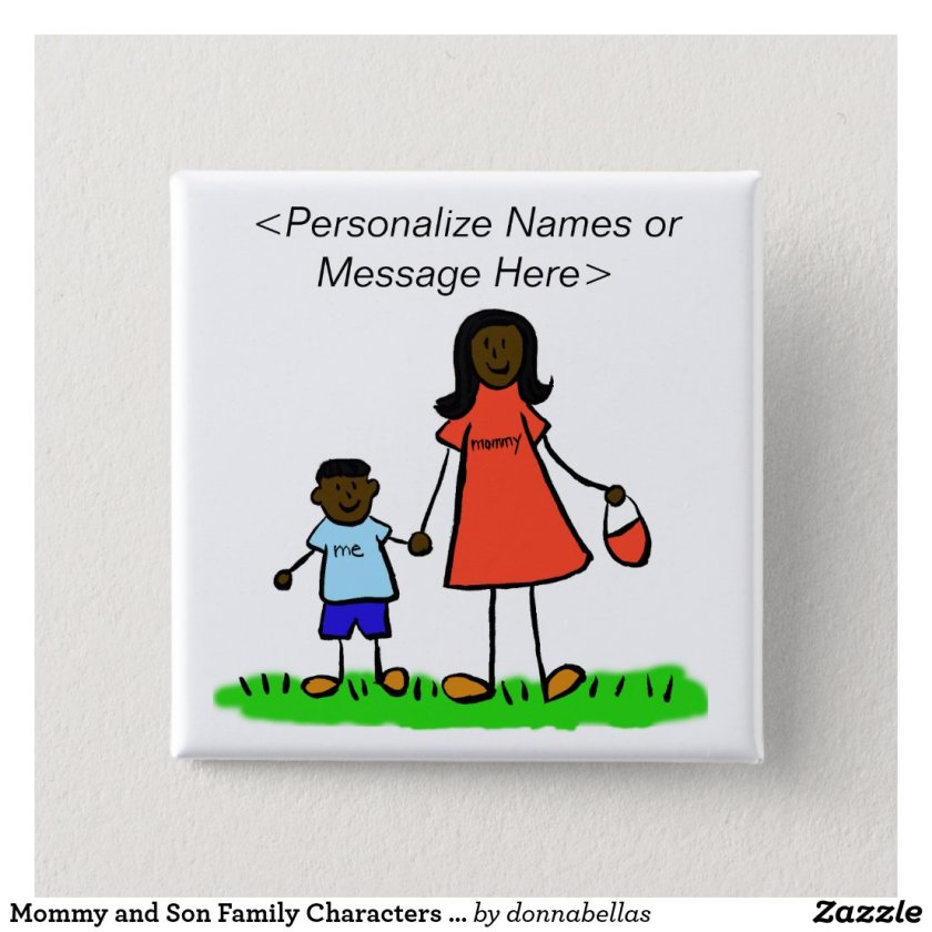 Mommy and Son Family Characters Custom Button Pins