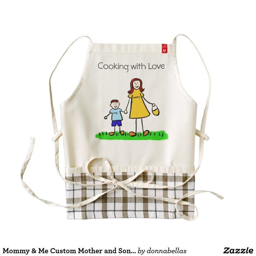Mommy & Me Custom Mother and Son Family Art Aprons
