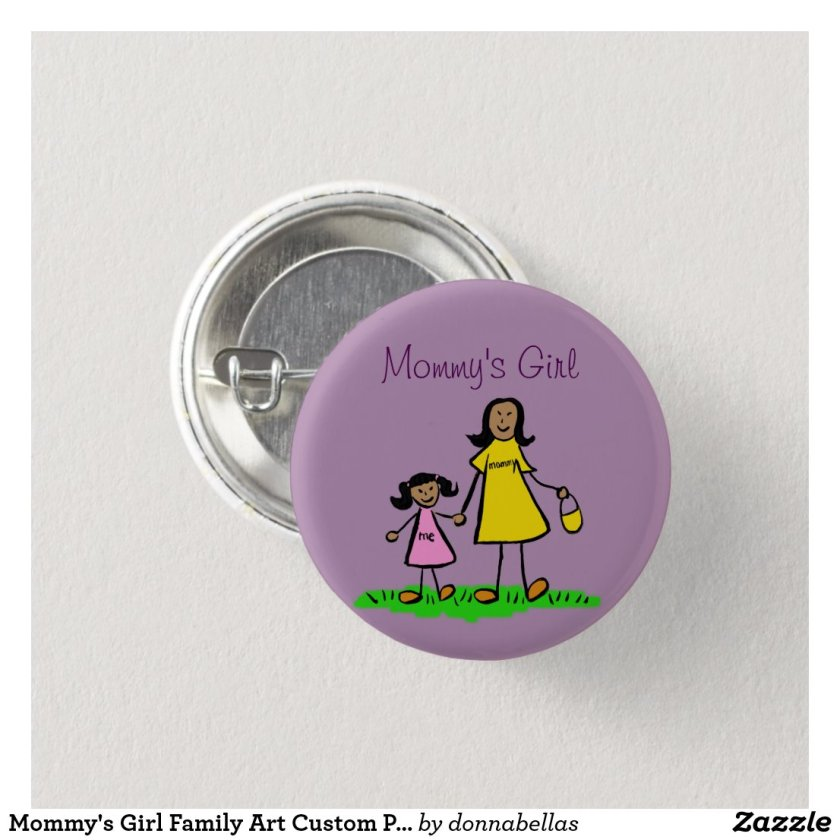 Mommy's Girl Family Art Custom Pendant Buttons