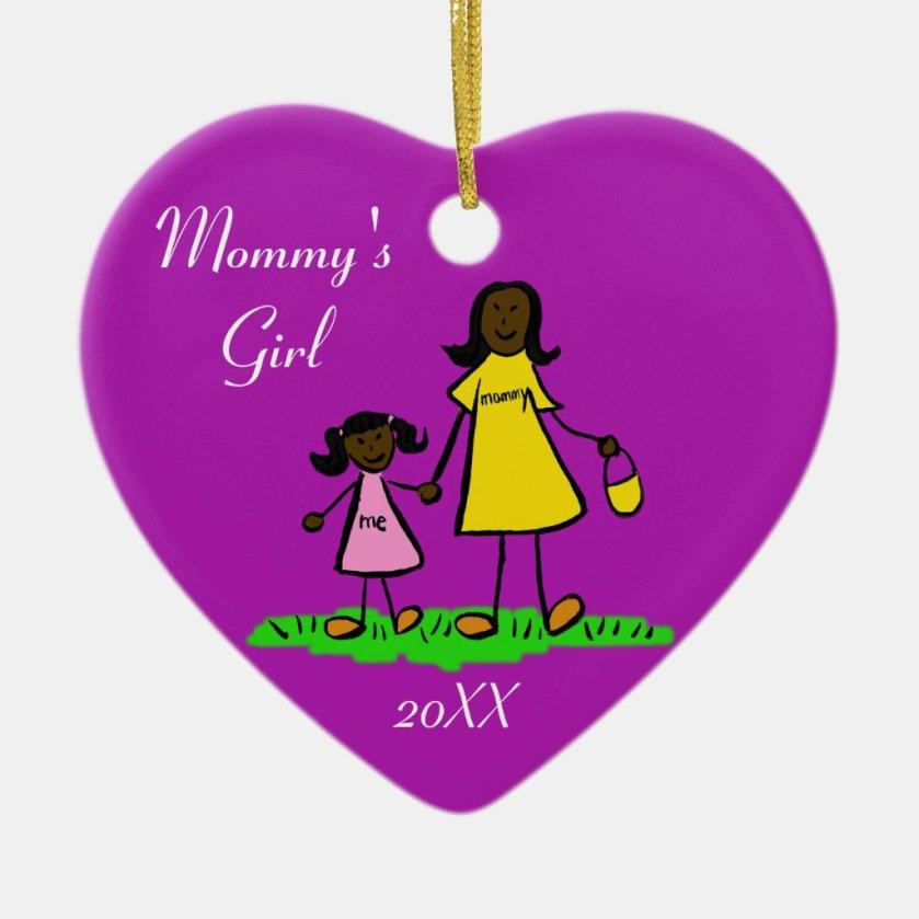 Mommy's Girl Family Characters Custom Art Ornament
