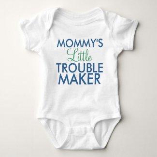 Mommy's Little Trouble Maker Blue Baby Bodysuit