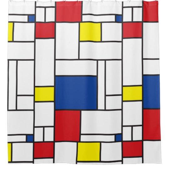 Mondrian Minimalist Geometric De Stijl Modern Art Shower Curtain Zazzle Com