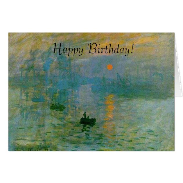 Monet Sunrise Painting Happy Birthday Card Zazzle