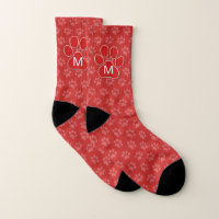 Mongorammed Paw Faded Cat Prints on Red Socks