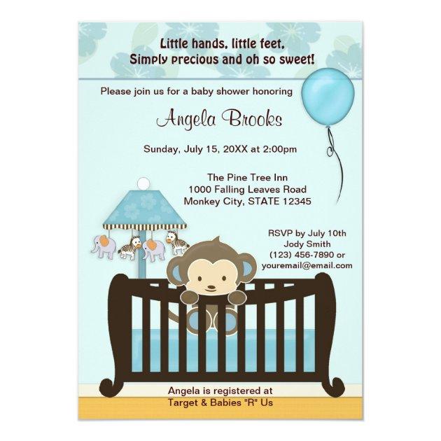 Monkey Baby Shower Invitation Crib Cj Blue Boy