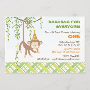 sock monkey birthday invitations zazzle