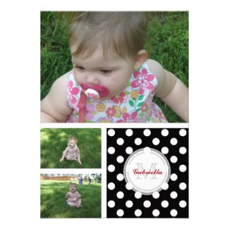 Monogram: 3 Pictures: B & W Polka-dot Invitation