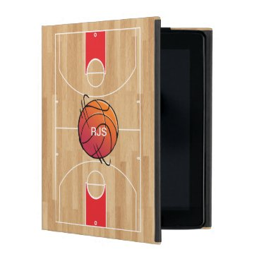 Monogram Basketball on basketball court iPad Cover