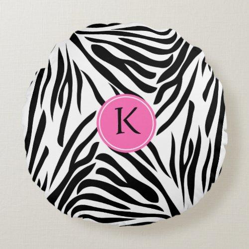 Monogram Black and White Zebra Print with Hot Pink Round Pillow