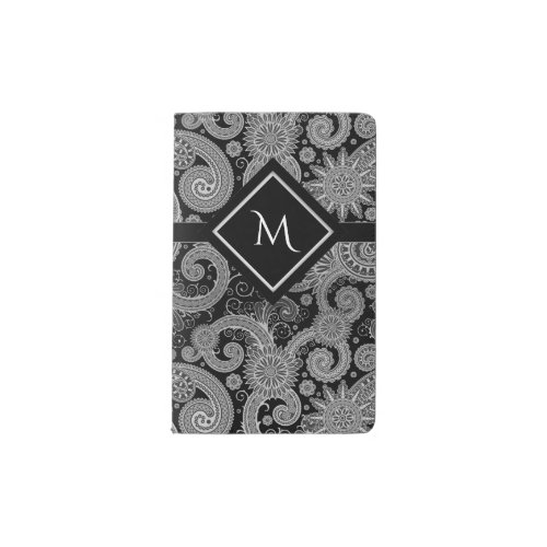 Monogram Black Paisley Pocket Moleskine Notebook