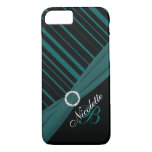 Monogram Black White Teal Striped iPhone 7 Case