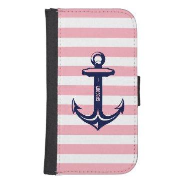 Monogram Blue Nautical Anchor Pastel Pink Stripe Samsung S4 Wallet Case