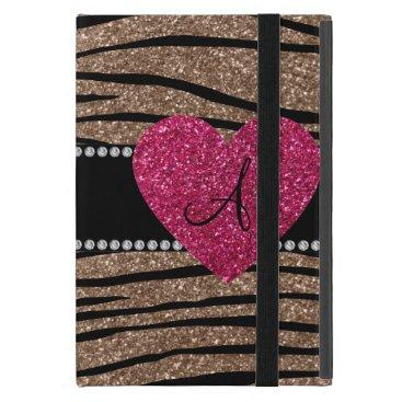 Monogram brown glitter zebra stripes pink heart iPad mini cover