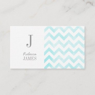 Monogram chevron business cards blue