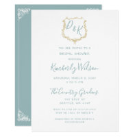 d2ee5a03adb Monogram Crest Gold Dusty blue Bridal Shower Invitation