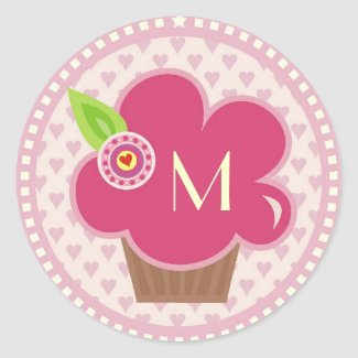 Monogram Cuppycake Cutie Sticker