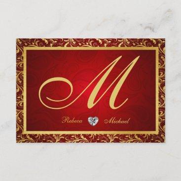 Monogram Damask Red / Gold RSVP Cards