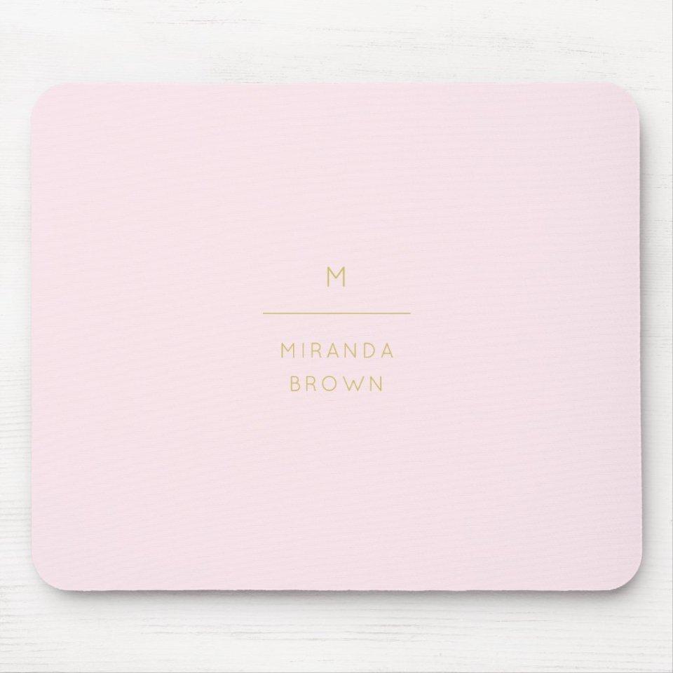 Monogram Elegant Blush Pink Gold Minimalist Classy Personalized Mouse Pad