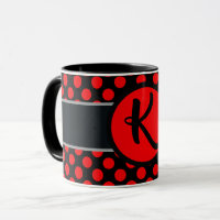 Monogram lady Polka dot - Custom  background color Mug