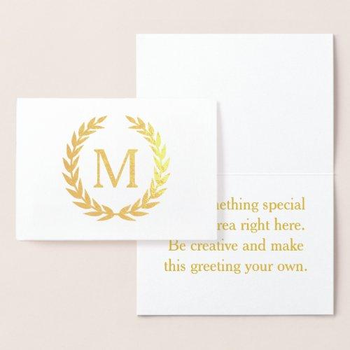 Monogram Laurel Foil Card