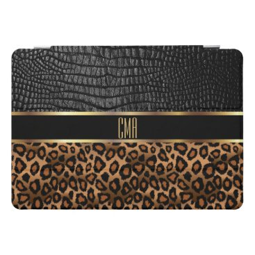 Monogram Leather and Leopard Pattern iPad Pro Cover
