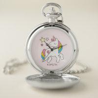 Monogram. Magical Cute Rainbow Unicorn. Pocket Watch