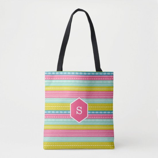 Monogram on bright candy colored sewing stitches tote bag