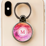 Monogram Pink Galaxy Space Personalized Phone Ring Stand