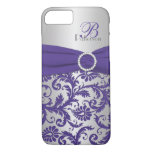 Monogram Purple and Silver Damask iPhone 7 Case