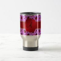 Monogram purple pastel ladybug hearts pattern travel mug